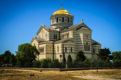 Orthodox Cathedral. St. Vladimir's Cathedral in Chersonesos, Crimea, Ukraine. Summery. Tourism and hiking Stock Photos
