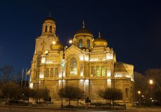 Orthodox cathedral of Assumption of the Virgin Mary at night, Va royalty free stock images
