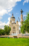 Orthodox Cathedral and Avram Iancu Statue in Cluj Naspoca Transylvania Romania Stock Photo