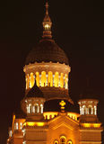 Orthodox Cathedral,Cluj,Romania. Night detail of the dome of the Orthodox Cathedral (The Dormition of the Theotokos Cathedral) in Cluj Napoca,Romania.It is an royalty free stock photo