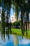 Orthodox Cathedral of Fagaras, Brasov County, Romania. Orthodox Cathedral of Fagaras, Brasov County, pictured near the lake of Fagaras medieval fortress stock image