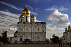 Orthodox Cathedral, Kremlin, Moscow, Russia, with Clouds. Dramatic clouds form a cobalt backdrop to one of the Orthodox cathedrals on the grounds of Moscow& x27 Stock Photos