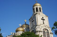 Orthodox cathedral with multiple gilded domes. Multiple gilded domes of Dormition of the Theotokos Cathedral, Orthodox cathedral in Varna, Bulgaria Stock Image