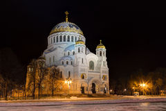 Orthodox Cathedral at night, HDR. TheNaval cathedral of Saint Nicholas in night winer scene, Kronstadt, Russia. HDR Stock Images