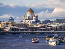 Free Orthodox Cathedral Of Christ The Saviour Over Moskva River Bridges, Moscow, Russia Royalty Free Stock Photography - 164043477