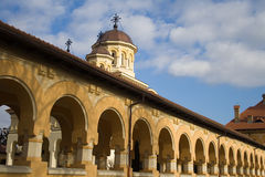 Orthodox Cathedral Passage. Covered passage of a cathedral in Romania stock images
