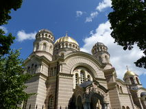 Orthodox Cathedral, Riga. The Nativity of Christ Cathedral sits in a park on the edge of the old town Stock Photos