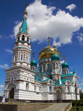 Orthodox cathedral. Orthodox cathedral in Russia. Blue sky Royalty Free Stock Images