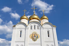 Orthodox cathedral. Russian orthodox cathedral against the blue sky Royalty Free Stock Photos
