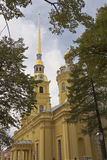 Orthodox Cathedral in Saint-Petersburg in the Peter and Paul fortress. Orthodox Cathedral in Saint-Petersburg in the Peter and Paul fortress, the burial place Royalty Free Stock Photo