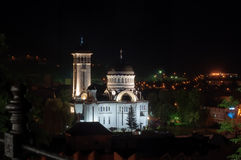 Orthodox cathedral from Sighisoara, Romania. By night Royalty Free Stock Images