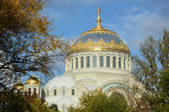 Orthodox cathedral of St. Nicholas in town Kronshtadt Stock Photos