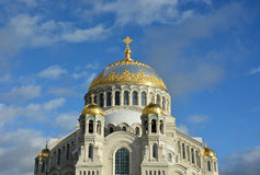 Orthodox cathedral of St. Nicholas in town Kronshtadt Royalty Free Stock Image