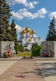 Orthodox cathedral and war memorial stock photos