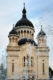 Orthodox Cathedral and water fountain in Cluj-Napoca Royalty Free Stock Photo