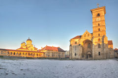 Orthodox and catholic cathedrals in Alba Iulia fortress,panorama royalty free stock photography