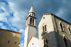 Orthodox and Catholic churches in Budva Stock Images