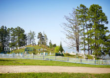 Orthodox cemetery. On the hill among the trees Stock Photos