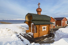 Orthodox chapel on the coast of the Barents Sea. The polar region, Royalty Free Stock Image