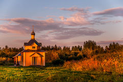 Orthodox chapel in a sacred place in golden hour Stock Photos