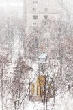 Orthodox chapel during a snowfall Stock Photography