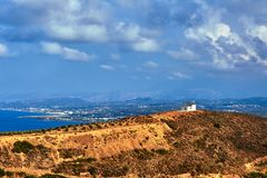 Orthodox chapel on the top of the hill. On the island of Crete royalty free stock photo