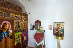 Orthodox chappel in Olympos Karpathos island. In the village of Olympos each family owned a windmill and a private chapel. Today only chapels are still open royalty free stock photo