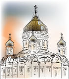 Orthodox charch colored sketch at sunset Stock Photos