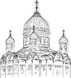 Orthodox charch sketch on white background Royalty Free Stock Image