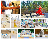 Orthodox christening collage - baptism photography collection royalty free stock image