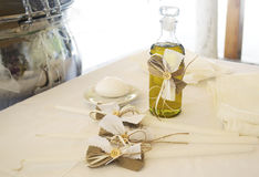 Orthodox Christening oil with candles Royalty Free Stock Photos