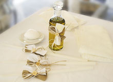 Orthodox Christening oil with candles royalty free stock image