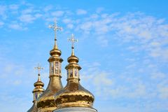 Religious building, Orthodox Christian cathedral with golden domes. Cathedral of the Holy Spirit. Romny, Sumska oblast, Ukraine. Orthodox Christian cathedral stock photos