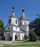 An Orthodox Christian Cathedral in white color with two black domes royalty free stock images