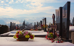 Orthodox Christian Cemetery. Details of an orthodox Christian cemetery, during winter day Stock Photo