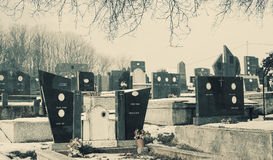 Orthodox Christian Cemetery. Details of an orthodox Christian cemetery, during winter day Stock Photos