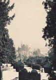 Orthodox Christian Cemetery. Details of an orthodox Christian cemetery, during winter day Royalty Free Stock Photography