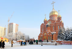 Orthodox Christian Christmas, main cathedral of Kemerovo city Stock Image