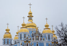 Orthodox christian church golden dome and holy cross Stock Photos