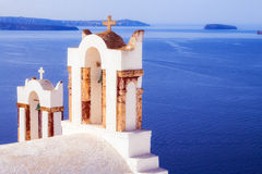 Orthodox christian church in Oia village, Santorini Royalty Free Stock Photos