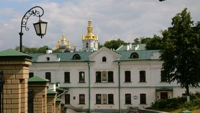 Orthodox Christian monastery. Golden domes of cathedrals and churches, Kiev-Pechersk Lavra Monastery. Orthodox Christian monastery. Golden domes of cathedrals stock video