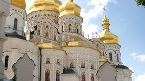 Orthodox Christian monastery. Golden domes of cathedrals and churches, Kiev-Pechersk Lavra Monastery. Orthodox Christian monastery. Golden domes of cathedrals stock footage