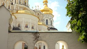 Orthodox Christian monastery. Golden domes of medieval cathedral and churches in Kiev-Pechersk Lavra. Orthodox Christian monastery. Golden domes of medieval stock footage