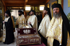 Orthodox Christian priests at Saint Demetrius relics Stock Photos