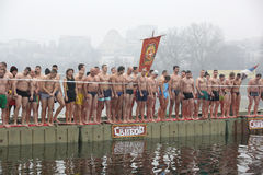 Orthodox Christians celebrate Epiphany with traditional ice swimming Royalty Free Stock Image