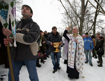 Orthodox Christians celebrate Epithany. By the river Svratka on January 19, 2010 in Brno, Czech Rep Royalty Free Stock Photo