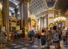 Orthodox Christians inside the Kazan Cathedral Stock Images