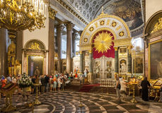 Orthodox Christians inside the Kazan Cathedral Royalty Free Stock Photography