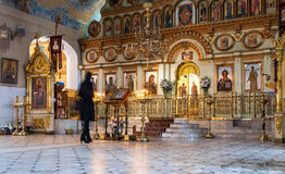 Orthodox Christians inside the Resurrection Cathedral Stock Photo