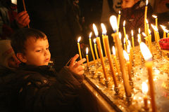 Orthodox christmas mass Royalty Free Stock Photo